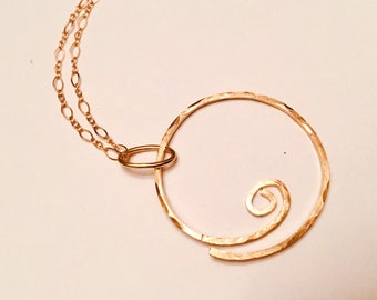 14k Gold fill hammered swirly circle pendant necklace on 10k gold chain