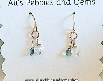 Green tourmaline, herkimer diamond drop earrings on 14k gold fill ear wires,dainty