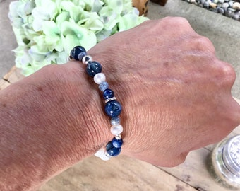 AA Kyanite mix with blue silverite rondelles, sterling mix, howlite beads, bracelet
