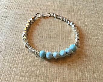 Genuine larimar, Karen Hill Tribe mix beaded bracelet , faceted hexagon, irregular beads