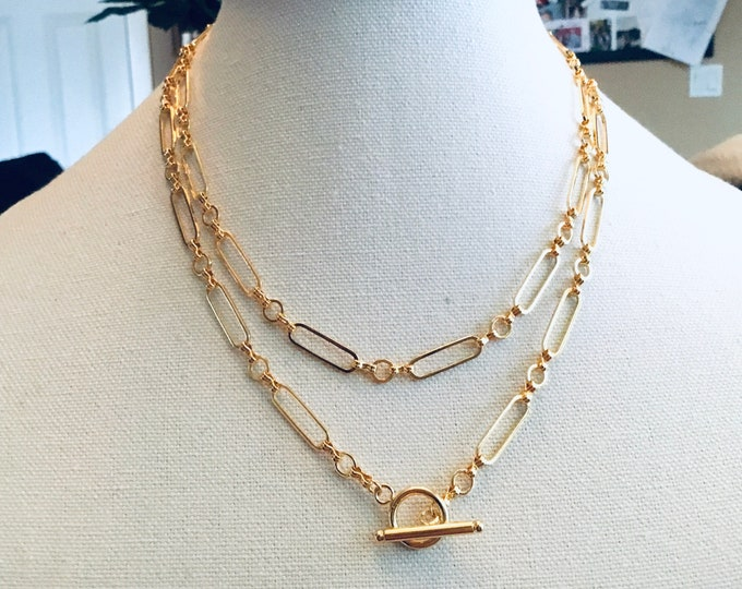 Gold fill infinity paperclip chain necklace, toggle clasp, layering, circle,chunky, elongated