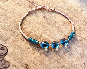 14k Rose gold vermeil over 925 sterling , teal kyanite , quartz coins,faceted tiny beaded bracelet, seed beads, Karen Hill Tribe