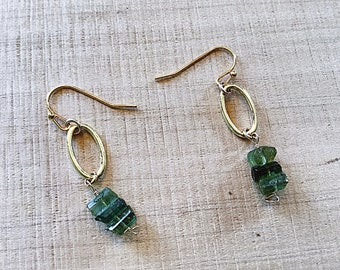 Natural Watermelon tourmaline slice earrings on 14k Gold fill ovals, minimalist