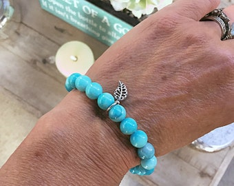 Blue hemimorphite 8mm beaded bracelet with sterling silver leaf charm, stacking