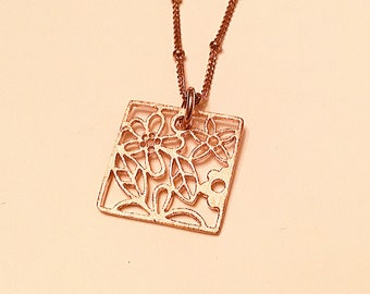 14k Rose gold vermeil over 925 sterling square filagree necklace, satellite chain, minimalist