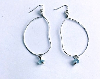 High grade aquamarine rondelles on large freeform oval sterling textured earrings, thin, hammered