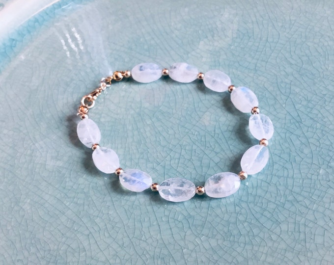 High grade rainbow moonstone ovals beaded bracelet with 14k gold fill spacers