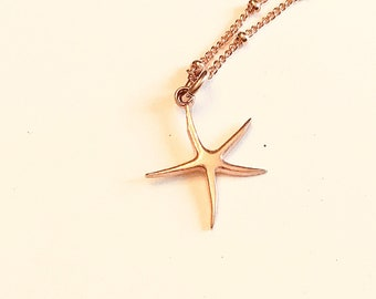 14k Rose gold vermeil over 925 sterling starfish pendant necklace, satellite chain, minimalist