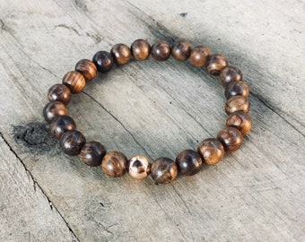Sandlewood men's beaded bracelet, rose gold feature bead