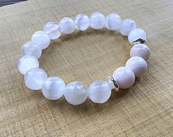 10mm selenite beaded bracelet with pink Mangano Calcite beads, chunky, sterling saucer beads