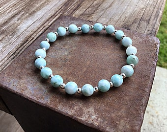 Genuine 6mm ocean blue larimar and tiny sterling spacers beaded bracelet