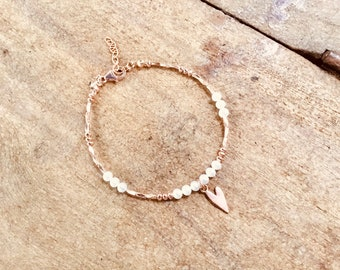 14k Rose gold vermeil over 925 sterling , AAA seed pearls, faceted tiny beaded bracelet, Karen Hill Tribe, heart charm