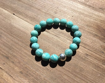 Natural Russian amazonite 10mm round beaded bracelet with sterling plum blossom bead