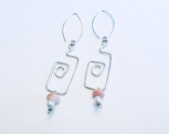 Peruvian opal, pearls, 925 sterling freeform rectangular earrings on sterling ear wires, textured