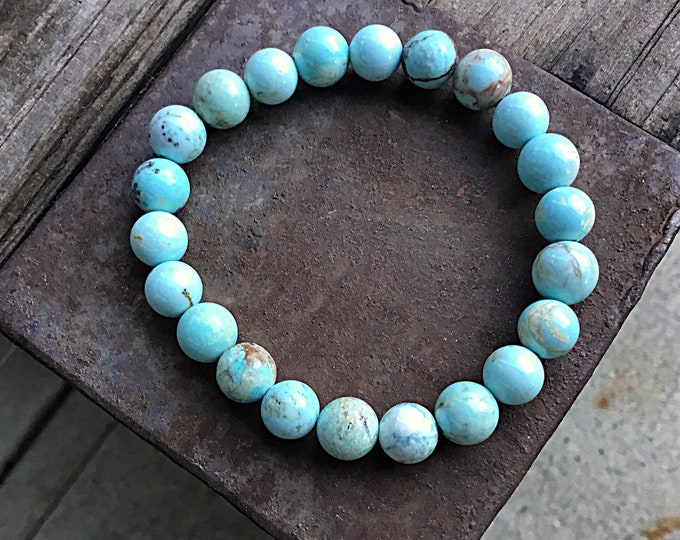 Light green blue turquoise beaded bracelet,stacking