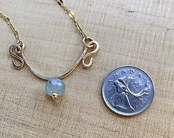 Opal rondelle beaded charm on 14k gold fill pendant necklace, swirly, textured on 14k gold fill sequin dainty chain, aqua