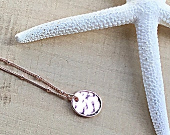 14k Rose gold vermeil over 925 sterling hammered disc pendant necklace, satellite chain, minimalist