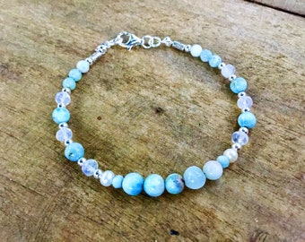 Genuine 5-7mm larimar round beaded bracelet, karen Hill Tribe Silver faceted beads,sterling, moonstone