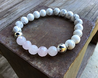 Rose quartz, howlite and silver plated 8mm beaded bracelet, stacking