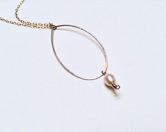 14k gold fill hammered freeform oval large pendant necklace, teardrop pearls, textured on 14k gold plated chain