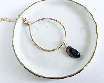 AAA watermelon tourmaline smooth slice briolette on 14k Gold fill textured freeform teardrop pendant necklace