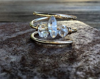 Herkimer diamond trio stone ring on 14k gold fill wire, swirling, double band, thick,textured, 3 stone, april birthstone