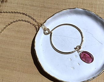 Watermelon tourmaline briolette on 14k gold fill circle pendant necklace, charm, textured, on gold fill chain