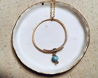 AA larimar pendant on 14k gold fill circle pendant necklace, hammered, textured