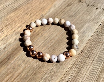 Smokey dentritic opal and rose gold plated 8mm beaded bracelet