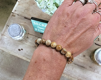 Picture jasper 8mm beaded bracelet, stacking, brown