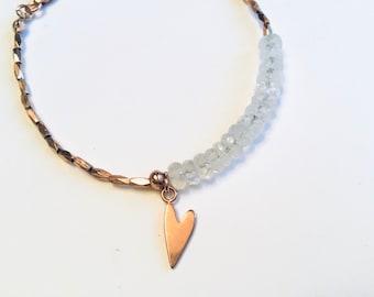 14k Rose gold vermeil over 925 sterling , rainbow moonstone rondelle disc beads, faceted tiny beaded bracelet, Karen Hill Tribe, heart charm