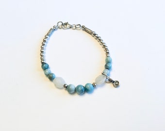 Larimar, Karen Hill Tribe silver, sterling round beads and moonstone pebble beaded bracelet with tiny sterling heart charm