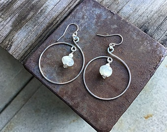 AA Rainbow moonstone sterling hoop earrings, freshwater pearls,minimalistic, textured