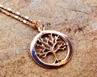 14k Rose gold vermeil over 925 sterling tree of life pendant necklace