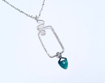 Sterling silver hammered freeform rectangular pendant necklace, amazonite charm, on sterling silver chain