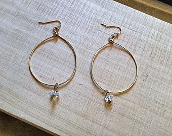 Herkimer diamond drops on 14k gold fill large elongated hoop textured earrings, thin, hammered, april birthstone