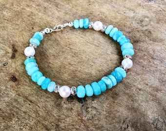 Larimar smooth rondelles, Karen Hill Tribe silver imprint, AA pearls, beaded bracelet