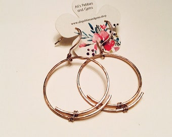 14k rose gold fill large overlapping circle hoop earrings on 14k rose gold fill ear wires