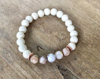 River stone, Smokey dentritic opal, Karen Hill Tribe rose gold vermeil brushed curved disc beads, rose gold plated 8mm beaded bracelet