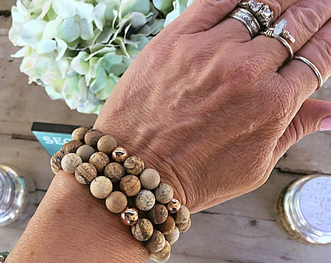 Natural jasper frosted stone and rose gold plated 8mm beaded bracelet