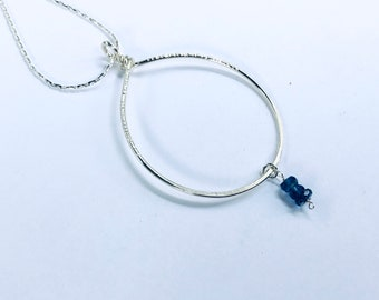 AAA moss blue kyanite rondelles on sterling circle pendant necklace, textured, silver plated snake chain