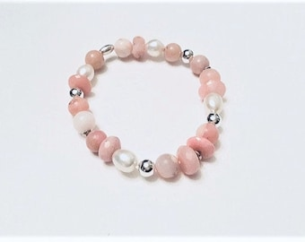 Pink Peruvian opal mix with sterling, freshwater pearls beaded bracelet