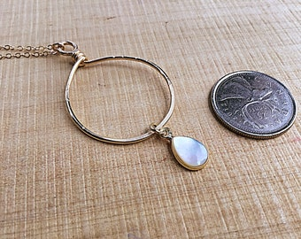 Mother of Pearl teardrop charm on 14k gold fill freeform circle necklace, swirly, textured on 14k gold fill chain