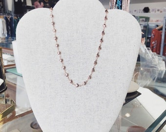 String of hearts Rose gold minimalist heart chain necklace