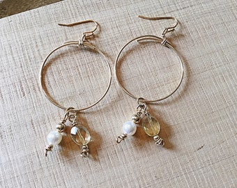 14k gold fill large hoop earrings, thin, citrine ovals and pearl charms, double, thin