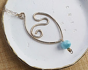 Genuine larimar smooth rondelle charm on 14k gold fill freeform swirly marquis pendant necklace, swirly, textured on 14k gold fill chain
