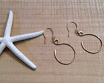 14k gold fill circle earrings on 14k gold fill ear wires, textured