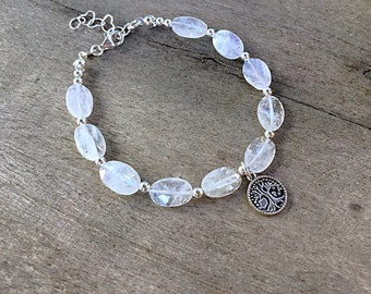 High grade rainbow moonstone ovals beaded bracelet with a sterling tree of life charm, sterling spacers