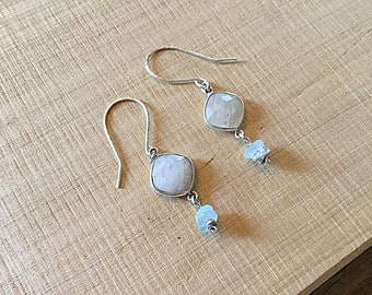 Moonstone bezel and aquamarine rondelles sterling earrings, Karen Hill Tribe beads