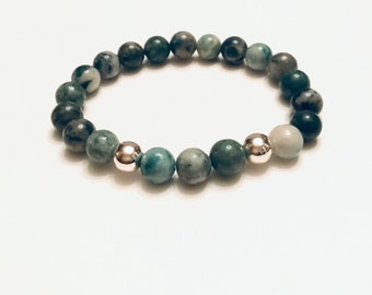 Jade and silver plated 8mm bracelet